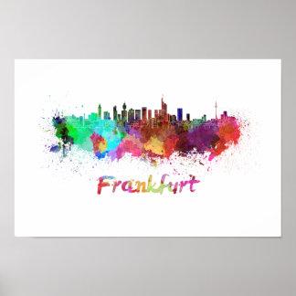 Frankfurt skyline im Watercolor Poster