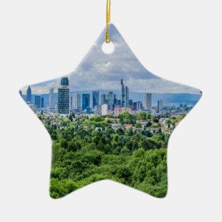 Frankfurt-Skyline Keramik Stern-Ornament