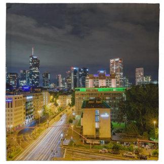 Frankfurt-Skyline nachts Stoffserviette