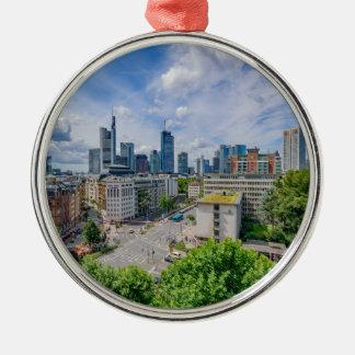Frankfurt-Skyline Silbernes Ornament