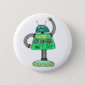 Frankie Roboter, grün auf Weiß Runder Button 5,1 Cm