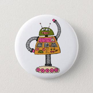 Frankie Roboter, orange auf Weiß Runder Button 5,7 Cm