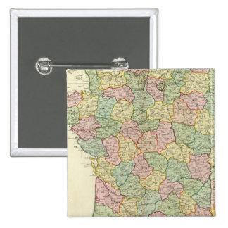 Frankreich-Atlas-Karte mit Bischöfen Quadratischer Button 5,1 Cm