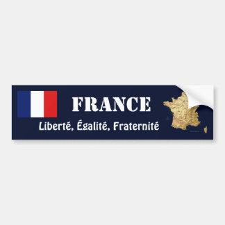 Frankreich-Flagge + Karten-Autoaufkleber Autoaufkleber