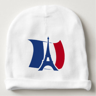 Frankreich-Flagge mit dem Eiffelturm blau, rot, Babymütze