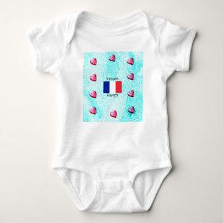 Frankreich-Flagge und französische Sprachentwurf Baby Strampler