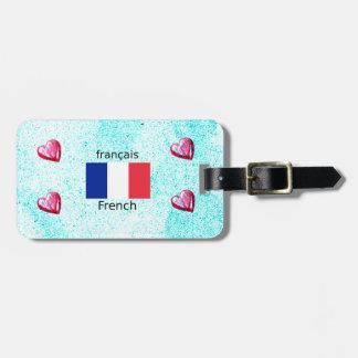 Frankreich-Flagge und französische Sprachentwurf Kofferanhänger