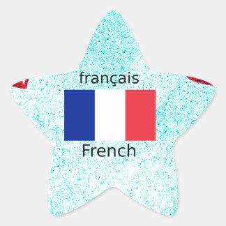 Frankreich-Flagge und französische Sprachentwurf Stern-Aufkleber