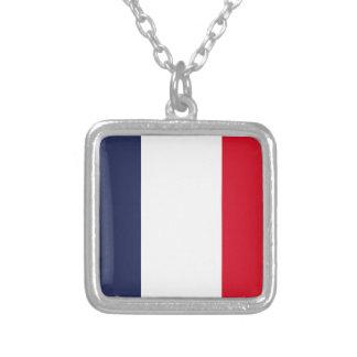 Frankreich-Flagge Versilberte Kette