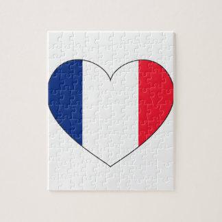 Frankreich-Flaggen-Herz Puzzle