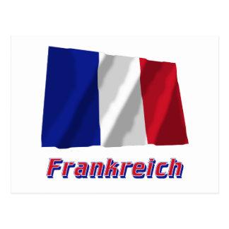 Frankreich Fliegende Flagge MIT Namen Postkarte