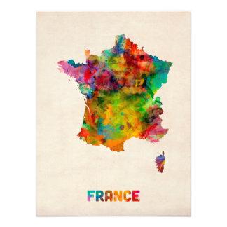 Frankreich-Karten-Aquarell Fotodrucke