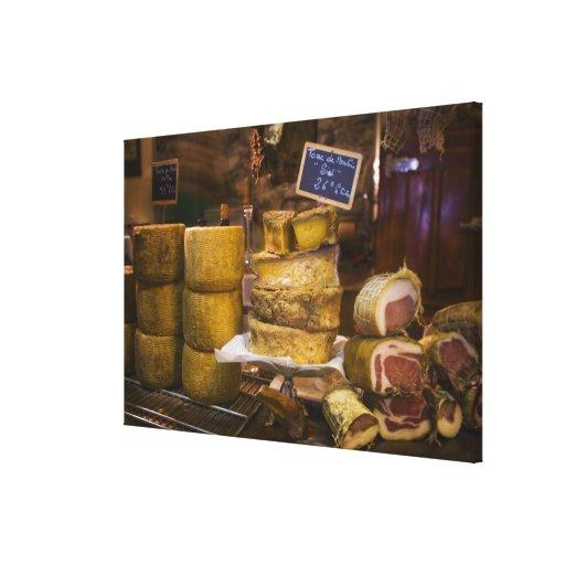Frankreich, Korsika. Lokale Käse und Charcuterie Gespannter Galerie Druck