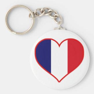 Frankreich-Liebe Standard Runder Schlüsselanhänger