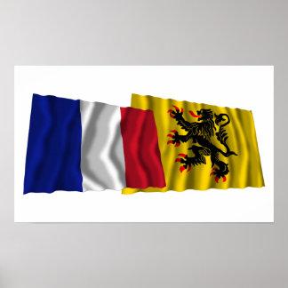 Frankreich u. Nord-Pas-de-Calais, die Flaggen well Posterdruck