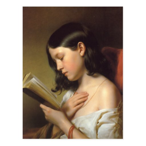 Franz Eybl - Lesendes Mädchen (Lesemädchen), 1850 Postkarte