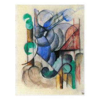 Franz Marc - Haus in der abstrakten Landschaft Postkarte
