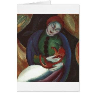 Franz Marc - Mädchen mit Rot-Miezekatze weiblicher Karte
