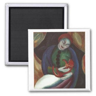 Franz Marc - Mädchen mit Rot-Miezekatze weiblicher Magnete