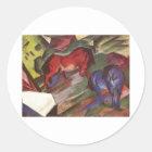 Franz Marc - rote u. blaue Papierpferde des Runder Aufkleber