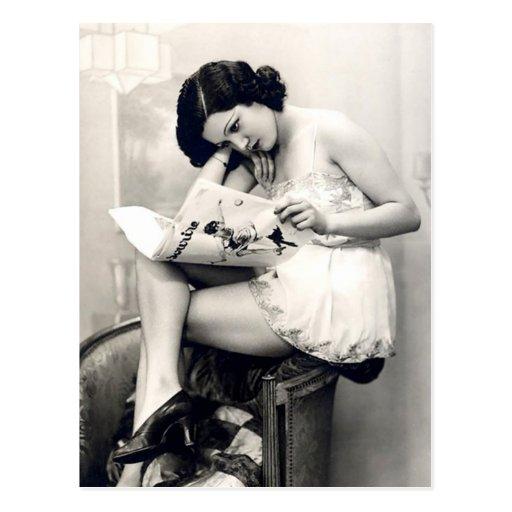 Franzose-Flirt - Vintages Pinup-Mädchen Postkarten