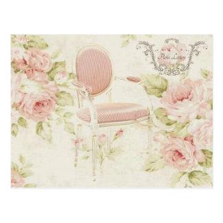 Franzosen Budoir Vintager rosa Blumenleuchter Postkarte