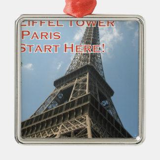Franzosen Eiffelturm-Paris Frankreich Sommer-2016 Silbernes Ornament