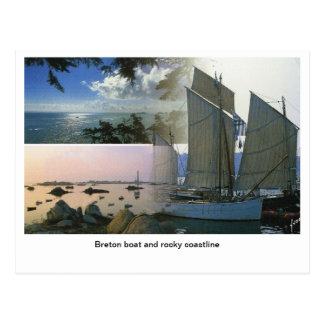 Franzosen Frankreich, bretonisches Boot und Postkarte