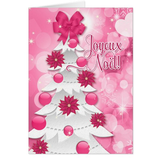 Franzosen Joyeux Noël - rosa Grußkarte