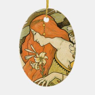 Franzosen Nouveau Pinup-Mädchen auf dem Gebiet der Ovales Keramik Ornament