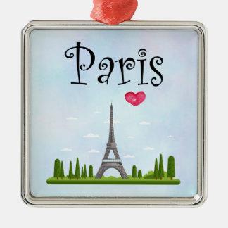 Franzosen Paris mit Eiffelturm Silbernes Ornament