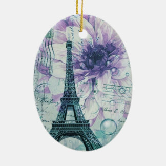 Franzoseparis Eiffel des hübschen girly Chic lila Keramik Ornament