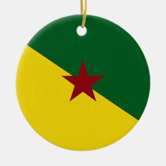 Französisch-Guayana Flagge Rundes Keramik Ornament
