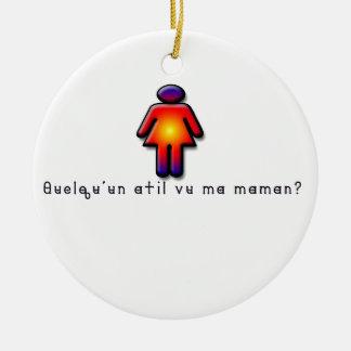 Französisch-Mama Rundes Keramik Ornament