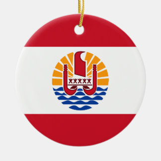 Französisch-Polynesien-Flagge, Drapeau Polynésie Rundes Keramik Ornament