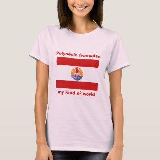 Französisch-Polynesien-Flagge + Karte + Text-T - T-Shirt