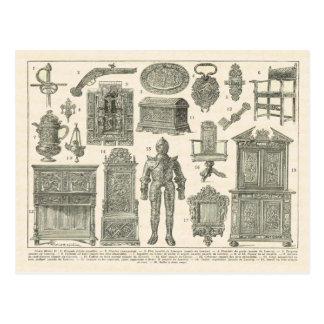 Französische Artefakte, Zeitraum Henri II Postkarte