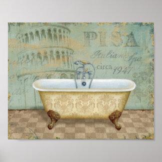 Französische Badewanne und der lehnende Turm von Poster