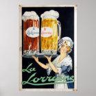 Französische Bier-Werbung Vintages La-Lothringens Poster