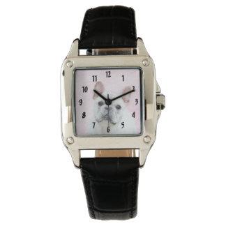 Französische Bulldogge (Creme/Weiß) Uhr