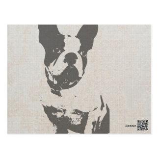französische Bulldogge des Druckes in der Vintagen Postkarten