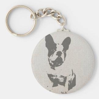 französische Bulldogge des Druckes in der Vintagen Standard Runder Schlüsselanhänger