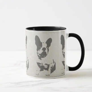 französische Bulldogge des Druckes in der Vintagen Tasse