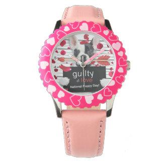 Französische Bulldogge des Valentinstags Armbanduhr