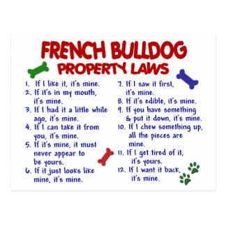 FRANZÖSISCHE BULLDOGGE Eigentums-Gesetze 2 Postkarte