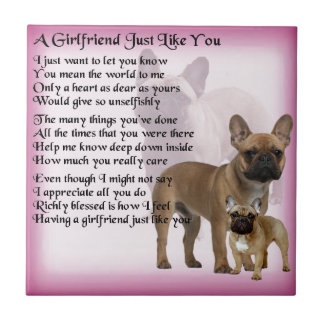 Französische Bulldogge - Freundin-Gedicht Keramikfliese