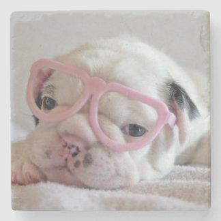 Französische Bulldogge in den Herz-Gläsern Steinuntersetzer