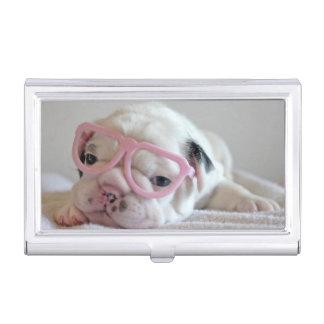 Französische Bulldogge in den Herz-Gläsern Visitenkarten Etui