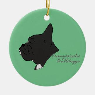 Französische Bulldogge Kopf Silhouette Keramik Ornament