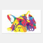 Französische Bulldogge kräftig bunt Rechteckiger Aufkleber